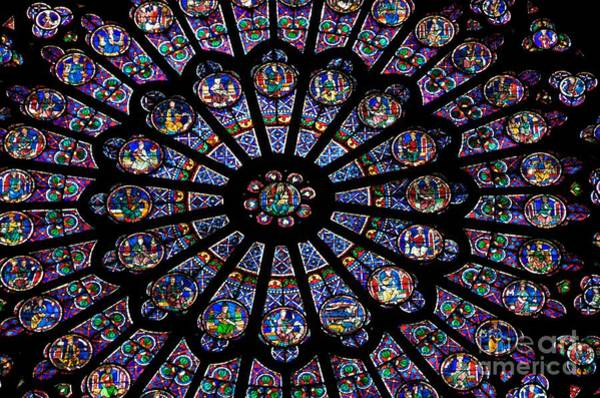 University Of Notre Dame Photograph - Rose Window .famous Stained Glass Window Inside Notre Dame Cathedral. Paris by Bernard Jaubert