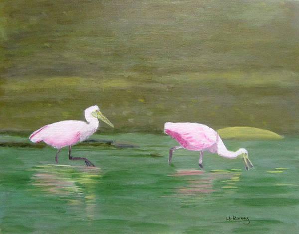 Painting - Roseate Spoonbills In Costa Rica by Linda Feinberg