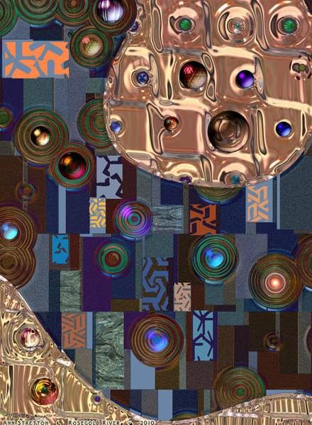 Digital Art - Rosegold River by Ann Stretton