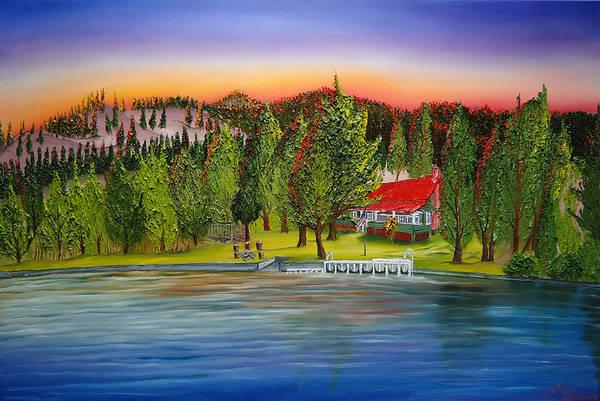 Wall Art - Painting - Rosemont Cabin Lake Chelan  by Dunbar's Modern Art
