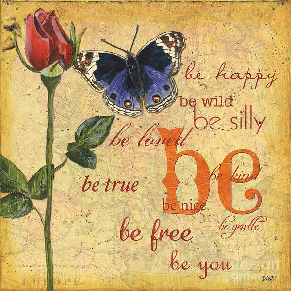 Text Wall Art - Mixed Media - Roses And Butterflies 1 by Debbie DeWitt