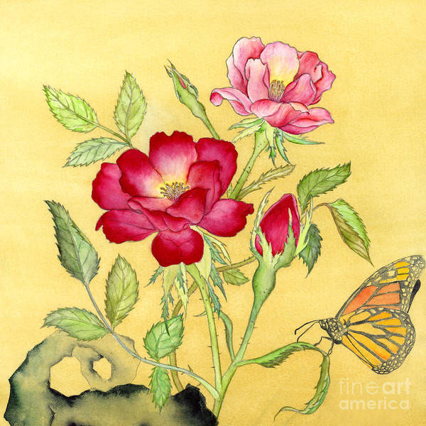 Wall Art - Painting - Roses And Butterfly by Hailey E Herrera