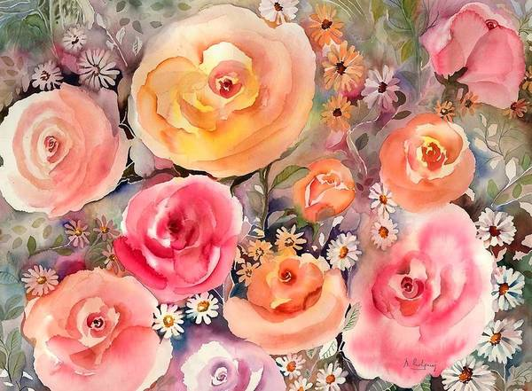 Pink Daisy Painting - Roses And Daisies by Neela Pushparaj