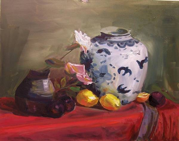 Painting - Roses And Lemons by Nicolas Bouteneff