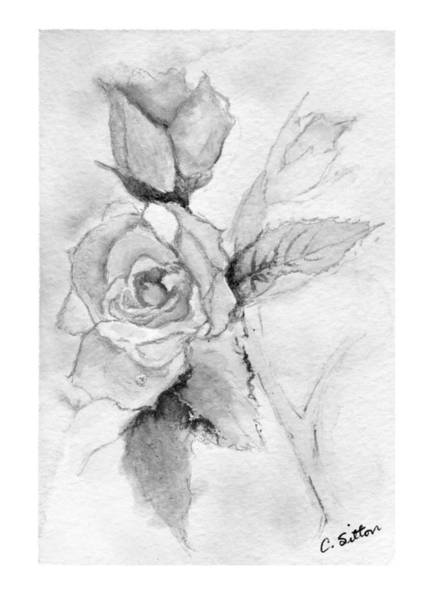 Painting - Roses Black And White by C Sitton