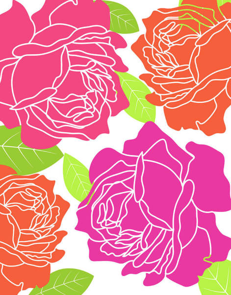 Pink Flowers Wall Art - Painting - Roses II by Tamara Robinson