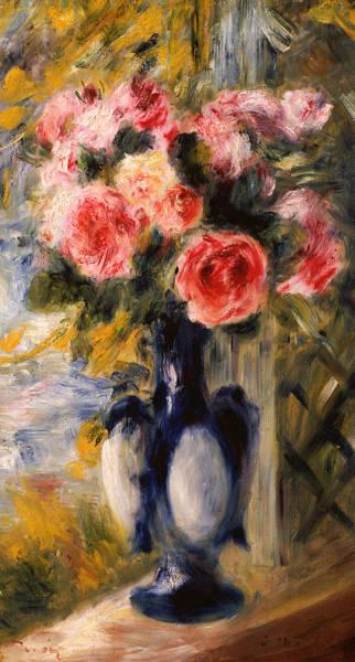 Wall Art - Painting - Roses In A Blue Vase by Pierre Auguste Renoir