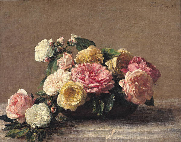 Wall Art - Painting - Roses In A Dish by Ignace Henri Jean Fantin-Latour