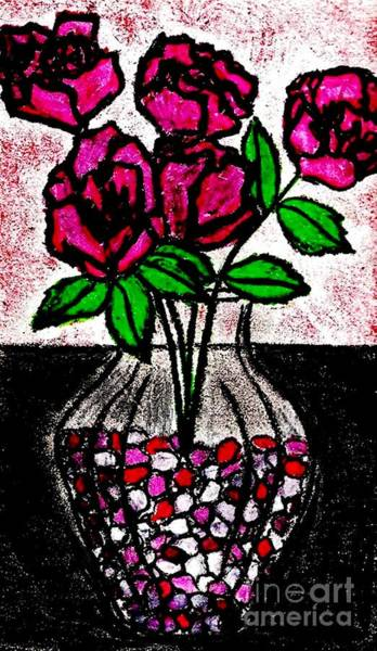 Pastel - Roses In Glass Vase With Colored Peebles by Neil Stuart Coffey