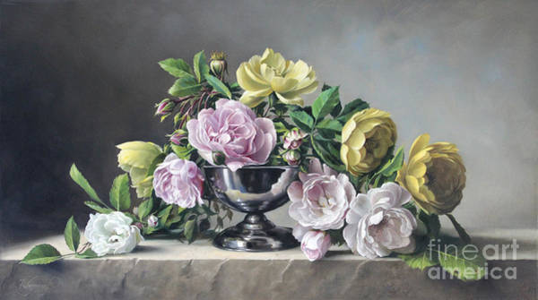 Live Wall Art - Painting - Roses Piramide by Pieter Wagemans