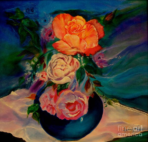Doily Painting - Roses Roses Roses by Jenny Lee