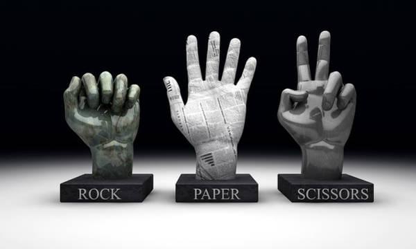 Statue Digital Art - Roshambo - Rock Paper Scissors by Allan Swart