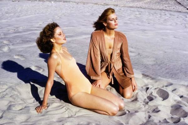 Rosie Wall Art - Photograph - Rosie Vela And Patti Hansen In Bathing Suits by Francesco Scavullo