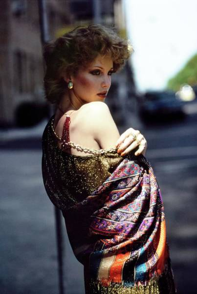 Rosie Wall Art - Photograph - Rosie Vela Wearing A Patterned Shawl by Arthur Elgort