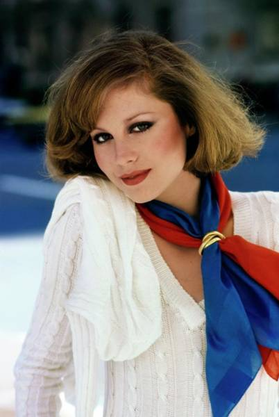 Rosie Wall Art - Photograph - Rosie Vela Wearing Two Scarves by Arthur Elgort