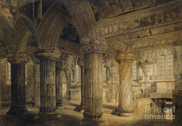 Chapels Painting - Roslyn Chapel by Joseph Michael Gandy
