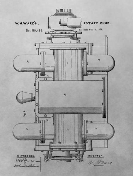 Pump Drawing - Rotary Pump Patent Drawing by Dan Sproul