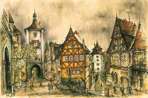 Drawing - Rothenburg Bavaria Germany - Romantic Watercolor by Peter Potter