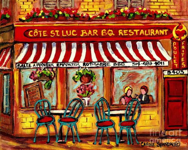 Painting - Rotisserie Cote St Luc Bbq Paris Style Sidewalk Cafe Romantic Bistro Paintings Art Of Montreal  by Carole Spandau