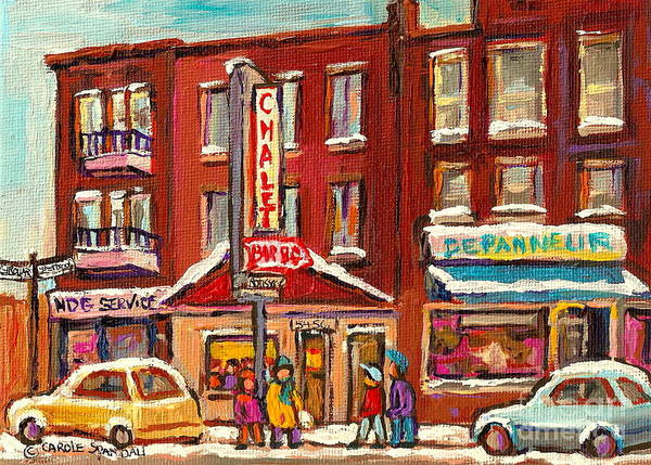 Wall Art - Painting - Rotisserie Le Chalet Bar B Q Sherbrooke West Montreal Winter City Scene by Carole Spandau