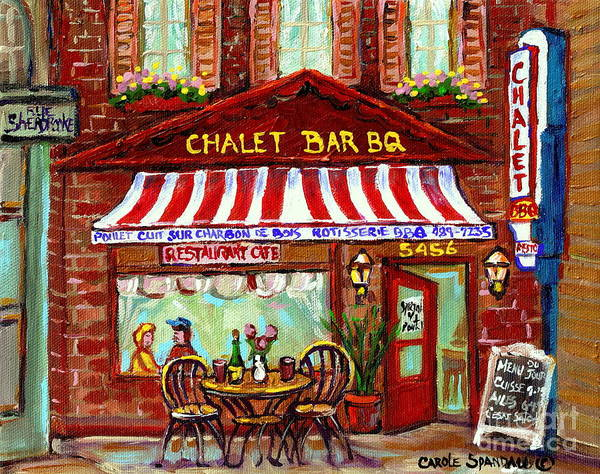 Bbq Painting - Rotisserie Le Chalet Bbq Restaurant Paintings Storefronts Street Scenes Diners Montreal Art Cspandau by Carole Spandau