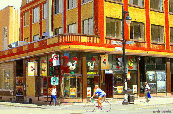 Painting - Rotisserie Portugaise Bbq Biking By Sunny St Urbain Corner Mont Royal Cafe Scenes Carole Spandau   by Carole Spandau