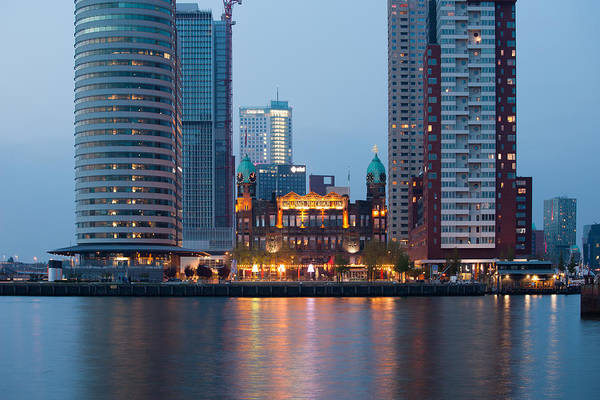 Holland America Line Wall Art - Photograph - Rotterdam City Downtown At Dusk by Artur Bogacki