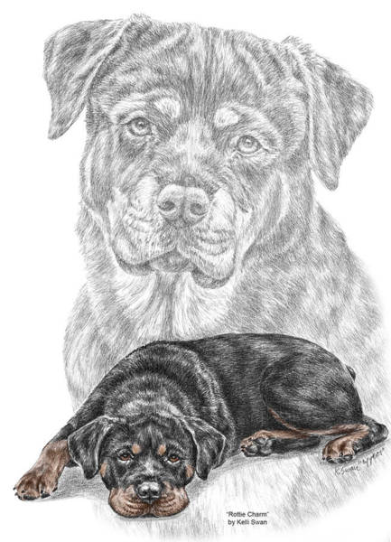 Rottie Charm - Rottweiler Dog Print With Color Art Print