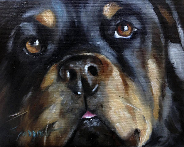 Wall Art - Painting - Rottie by Mary Sparrow