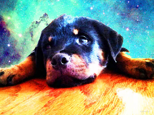 Art For Sale Online Painting - Rottie Puppy By Sharon Cummings by Sharon Cummings