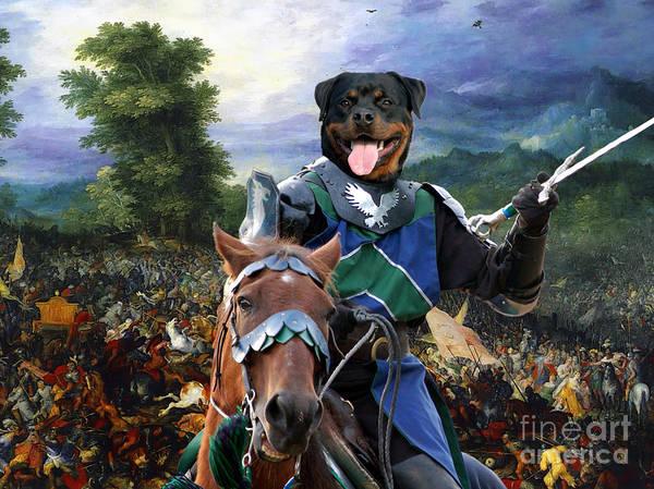 Rottweiler Painting - Rottweiler Art - The Brave Knight by Sandra Sij