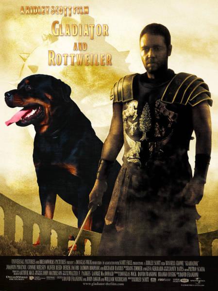 Rottweiler Painting - Rottweiler Art Canvas Print - Gladiator Movie Poster by Sandra Sij
