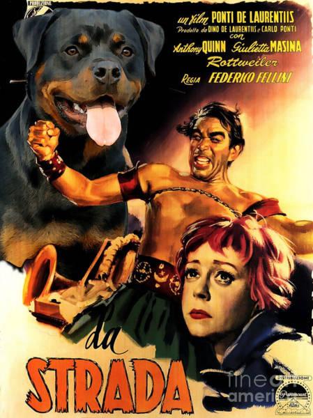 Rottweiler Painting - Rottweiler Art Canvas Print - La Strada Movie Poster by Sandra Sij
