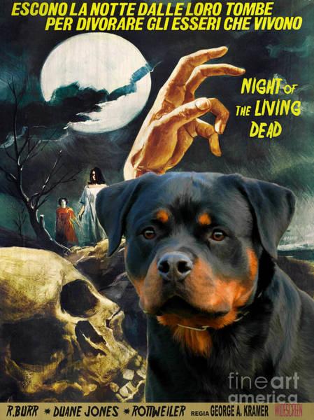 Rottweiler Painting - Rottweiler Art Canvas Print - Night Of The Living Dead Movie Poster by Sandra Sij
