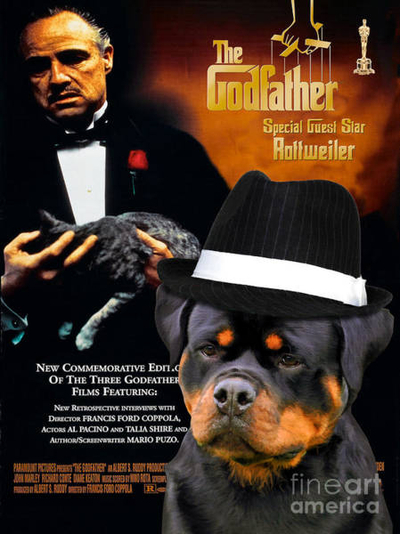 Rottweiler Painting - Rottweiler Art Canvas Print - The Godfather Movie Poster by Sandra Sij