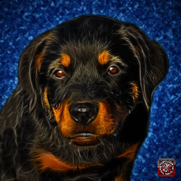 Painting - Rottweiler Pop Art 0481 - Bc1 - Blue by James Ahn