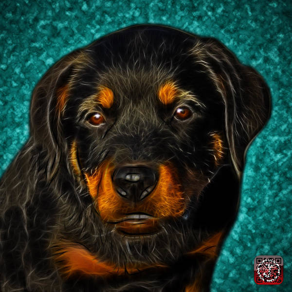 Painting - Rottweiler Pop Art 0481 - Bc1 - Cyan by James Ahn