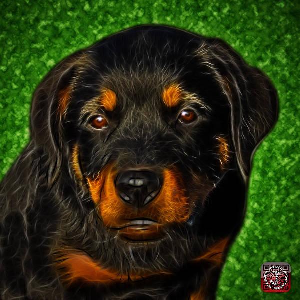Painting - Rottweiler Pop Art 0481 - Bc1 - Green by James Ahn