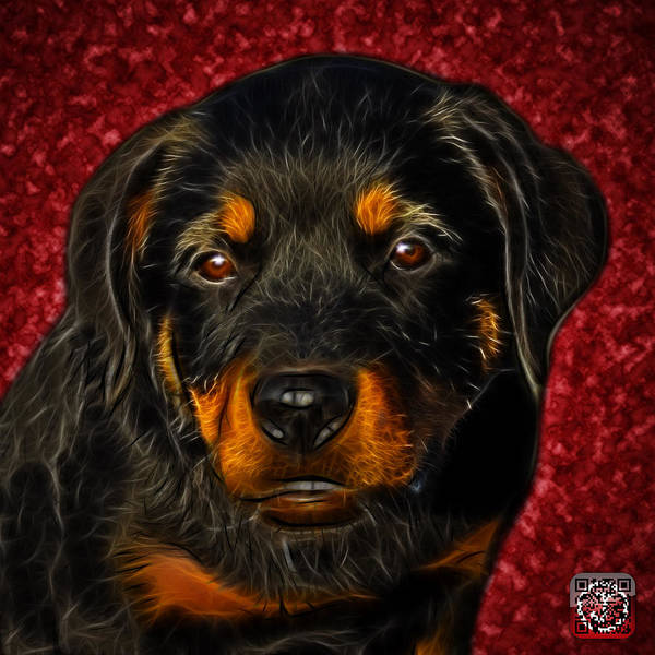 Painting - Rottweiler Pop Art 0481 - Bc1 - Red by James Ahn
