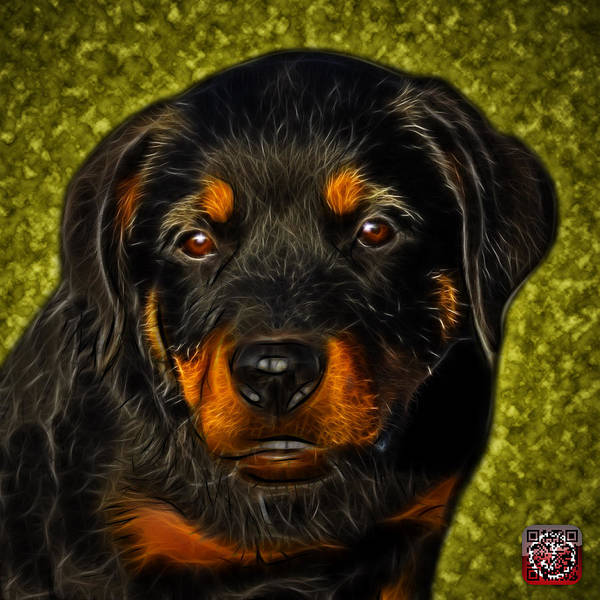 Painting - Rottweiler Pop Art 0481 - Bc1 - Yellow by James Ahn