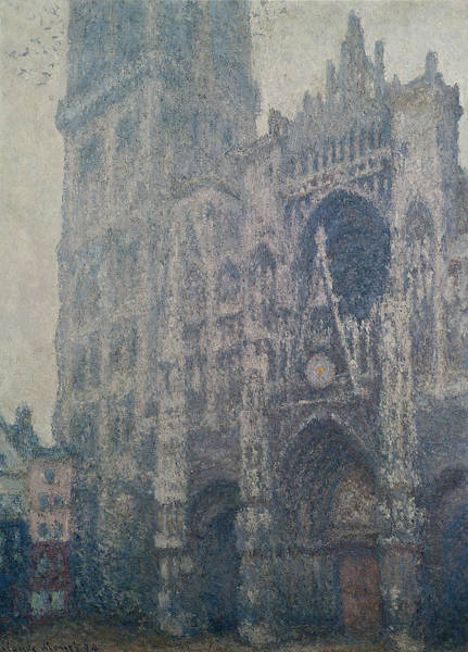 Portals Wall Art - Painting - Rouen Cathedral West Portal Grey Weather by Claude Monet