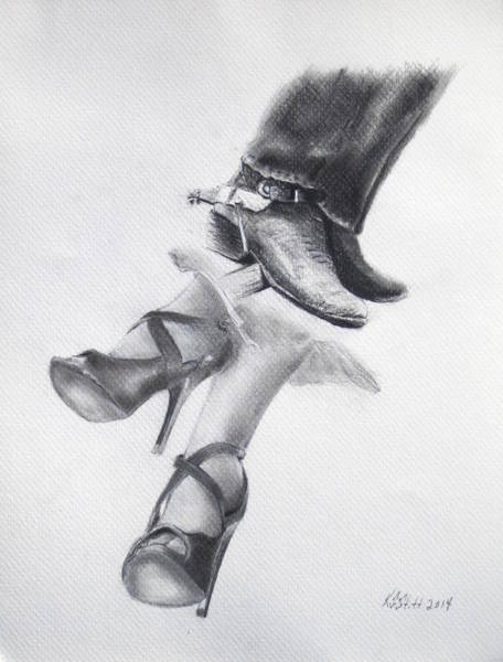 High Heels Drawing - Rough And Ready by Karen Stitt