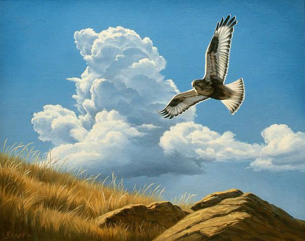 Cloudscape Wall Art - Painting - Rough-legged Hawk by Paul Krapf