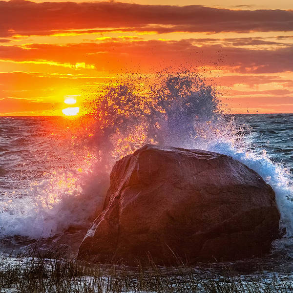 Cape Cod Sunset Photograph - Rough Sea Square by Bill Wakeley