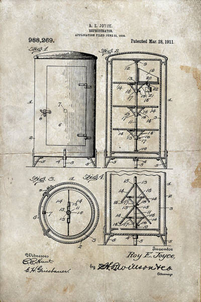 Digital Art - Round Refrigerator Patent 1911 by Paulette B Wright