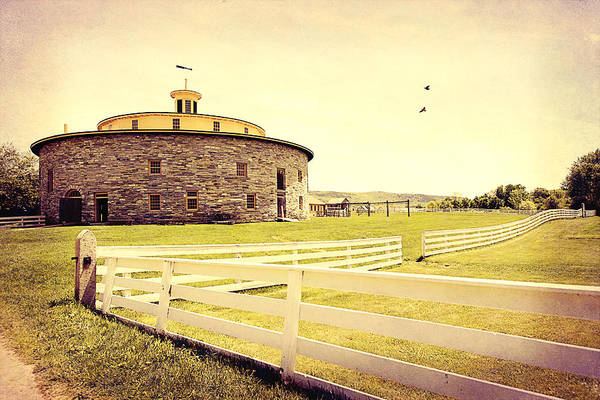 Photograph - Round Stone Barn by Trina  Ansel