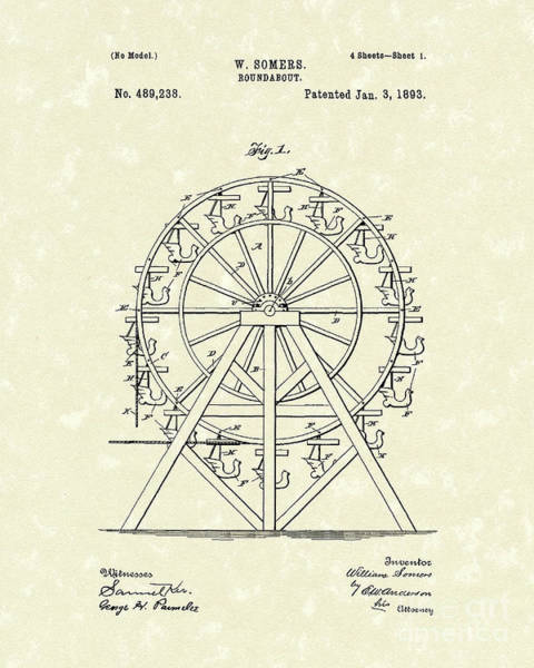 Drawing - Roundabout 1893 Patent Art  by Prior Art Design