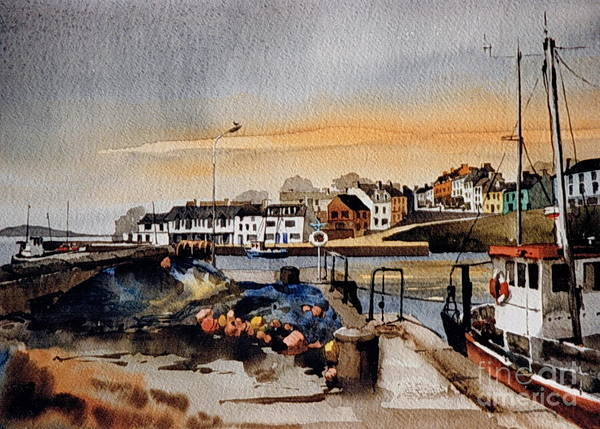 Mixed Media - Roundstone North Pier Galway by Val Byrne