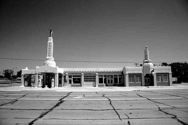Photograph - Route 66 - Conoco Tower Station 2012 Bw by Frank Romeo