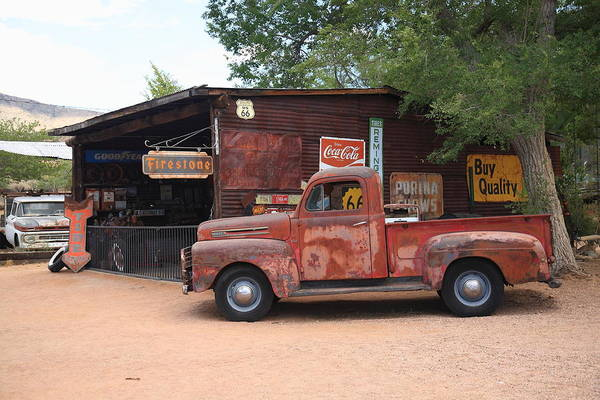 Filling Photograph - Route 66 Garage And Pickup by Frank Romeo